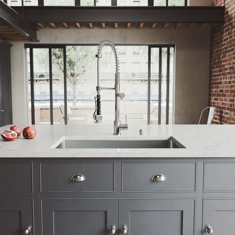 """VIGO All-In-One 32"""" Mercer Stainless Steel Undermount Kitchen Sink Set With Zurich Faucet In Chrome"""