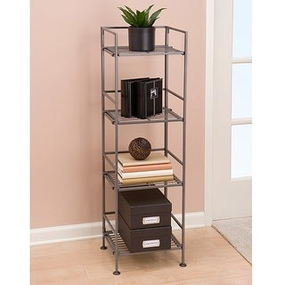 Seville Classics 4-tier Satin Pewter Iron Bar Square Tower Shelving Unit
