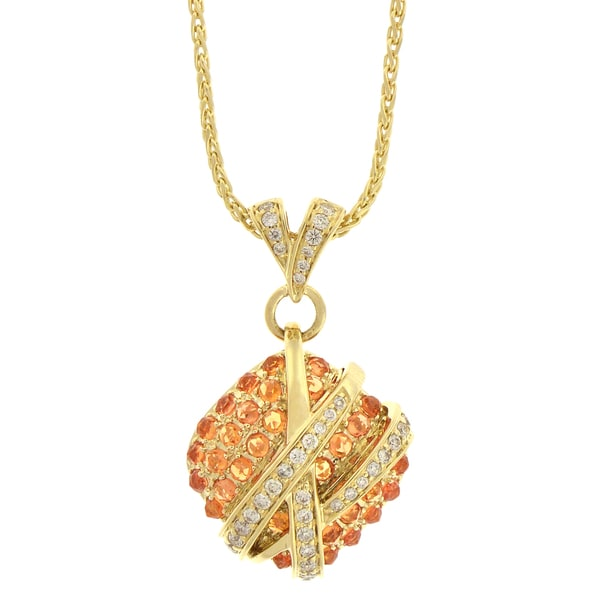 Beverly Hills Charm 14k Gold Yellow Sapphire and 3/8ct TDW Diamond Necklace (H-I, I1)