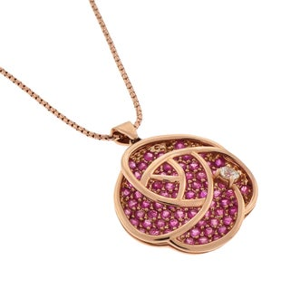 Beverly Hills Charm 14k Rose Gold Pink and White Sapphire Flower Necklace