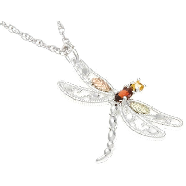 Black Hills Gold and Silver Citrine and Garnet Dragonfly Necklace