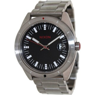 Nixon Men's Rover Ss A359008-00 Silver Stainless-Steel Quartz Watch with Black Dial