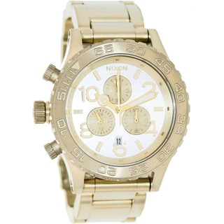 Nixon Men's 42-20 Chrono A0371219-00 Gold Stainless-Steel Quartz Watch with Silver Dial