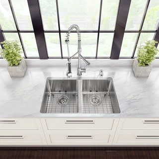 VIGO All-in-One 29-inch Stainless Steel Undermount Kitchen Sink and Zurich Stainless Steel Faucet Set
