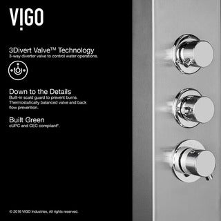 VIGO Chrome Shower Panel with Rain Head Massage System