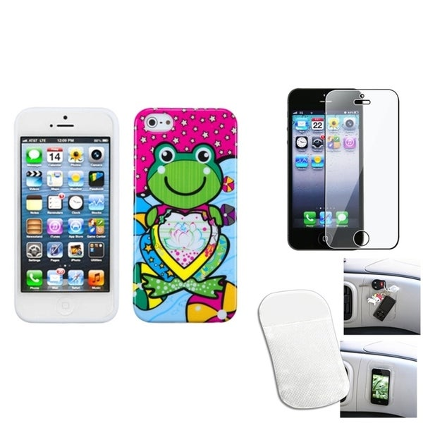 INSTEN Clear Screen Protector/ Anti-slip Mat/ Skin Phone Case for Apple iPhone 5/ 5C/ 5S/ SE