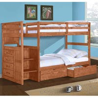 Donco Kids Ranch Stairway Twin Bunk Bed with Dual Underbed Drawers