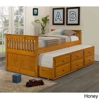 Donco Kids Mission Captains Trundle Twin Bed (Option: Brown/Tan - Honey Finish)
