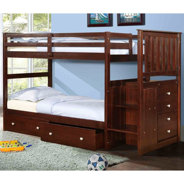 shop donco kids mission twin stairway bunk bed with underbed drawers free shipping today. Black Bedroom Furniture Sets. Home Design Ideas