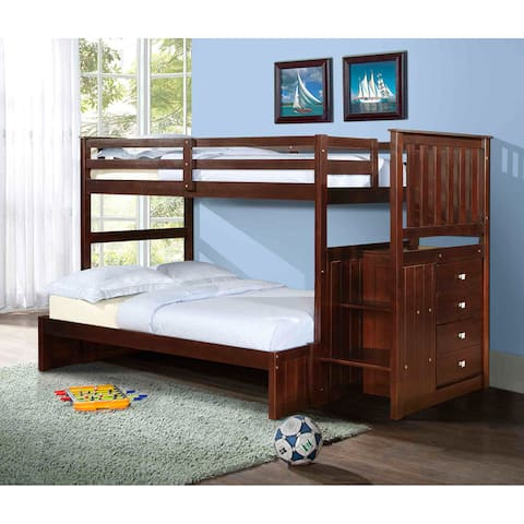 Donco Kids Mission Stairway Twin/ Full Bunkbed