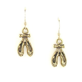 Handmade Jewelry by Dawn Antique Gold Pewter Dance Shoe Earrings (USA)