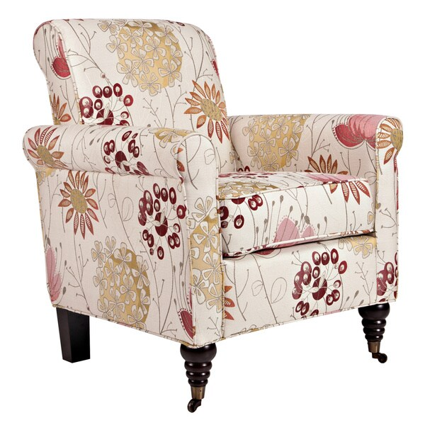 Handy Living Harlow Spring Parisian Red Flower Chair