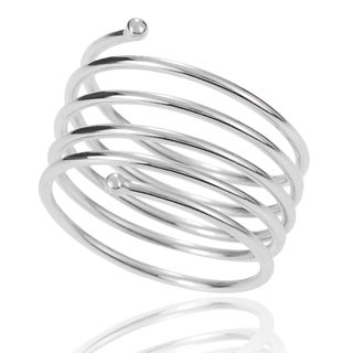 Journee Collection Sterling Silver Handcrafted Spiral Ring