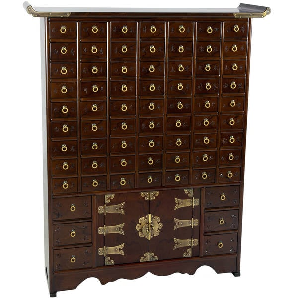 "Handmade Korean Antique Style 69-Drawer Apothecary Chest (Korea) - 34.25""W x 9.5""D x 42""H"