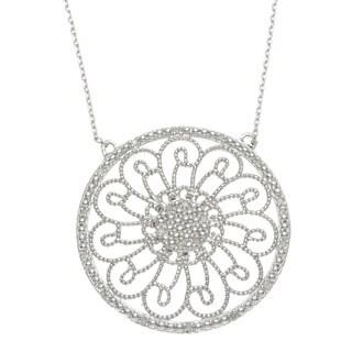 La Preciosa Sterling Silver Diamond Accent Open Circle Design Necklace