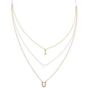 La Preciosa Sterling Silver Tri-color 3-strand Cubic Zirconia 'I <3 U' Necklace
