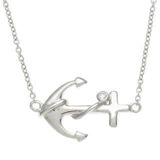 La Preciosa Sterling Silver Cubic Zirconia Sideways Anchor Necklace