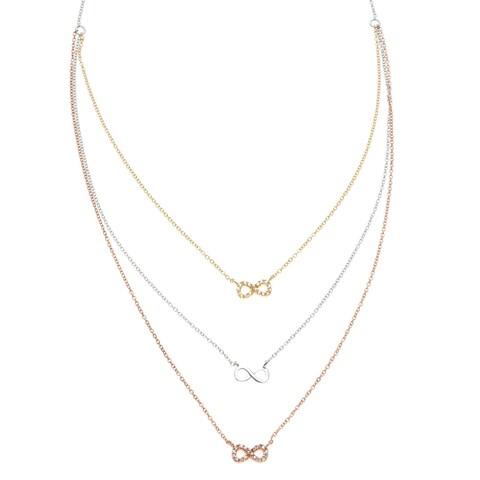 La Preciosa Sterling Silver Tri-color 3-strand Cubic Zirconia Infinity Necklace