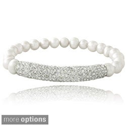 Glitzy Rocks Silvertone FW Pearl and Crystal Bar Stretch Bracelet