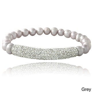 Glitzy Rocks Silvertone FW Pearl and Crystal Bar Stretch Bracelet