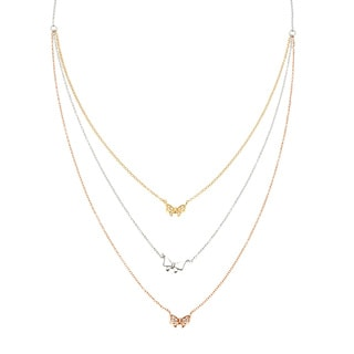 La Preciosa Sterling Silver Tri-color 3-strand Cubic Zirconia Bow Necklace