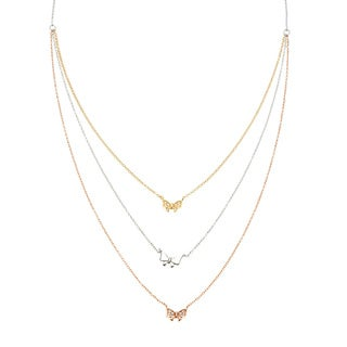 La Preciosa Sterling Silver Tri-color 3-strand Cubic Zirconia Bow Necklace