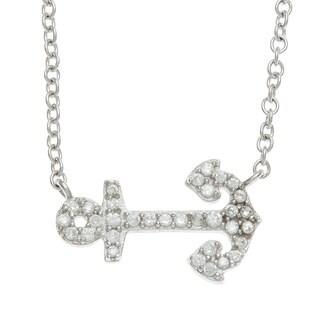 La Preciosa Sterling Silver Cubic Zirconia Anchor Necklace