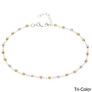 La Preciosa Sterling Silver Diamond-cut 'Moonbeads' Anklet