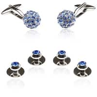 Silvertone Blue Crystal Cuff Link and Stud Jewelry Set