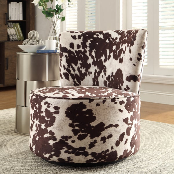 Shop Inspire Q Damen Cow Hide Print Modern Round Swivel