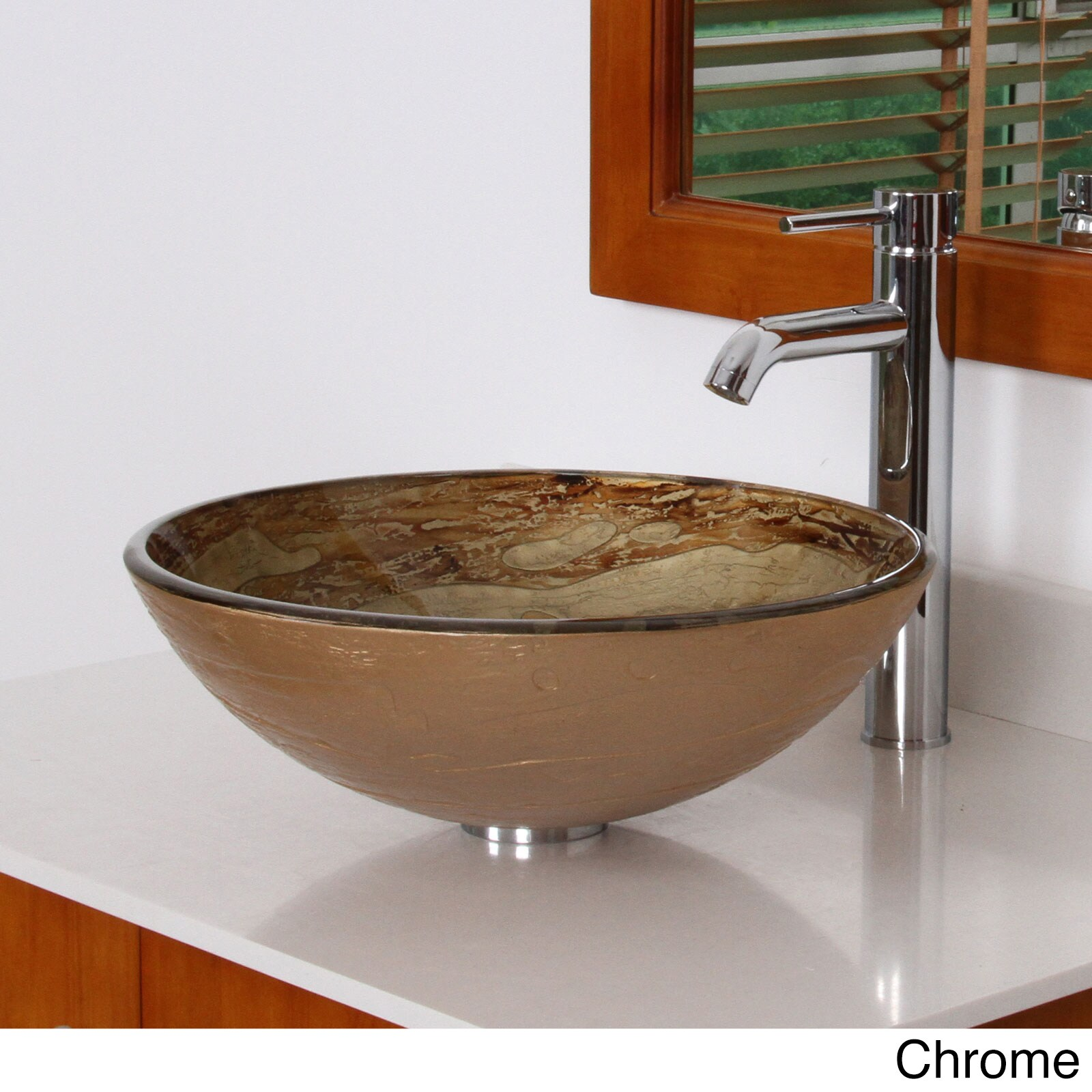 Elite 7003F371023 Modern Design Tempered Glass Bathroom Vessel Sink With  Faucet Combo