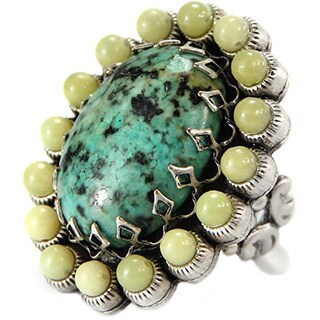 Sweet Romance Turquoise and Jade Oval Silver Ring