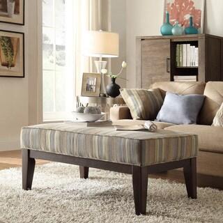 INSPIRE Q Ashland 42-inch Mocha Tonal Stripe Upholstered Cocktail Ottoman