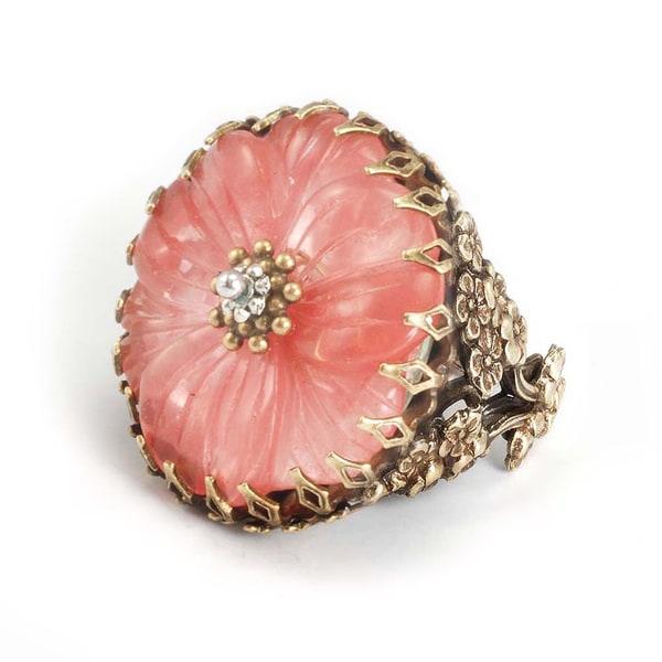 Sweet Romance Bronzetone Pink Glass Camellia Flower Ring
