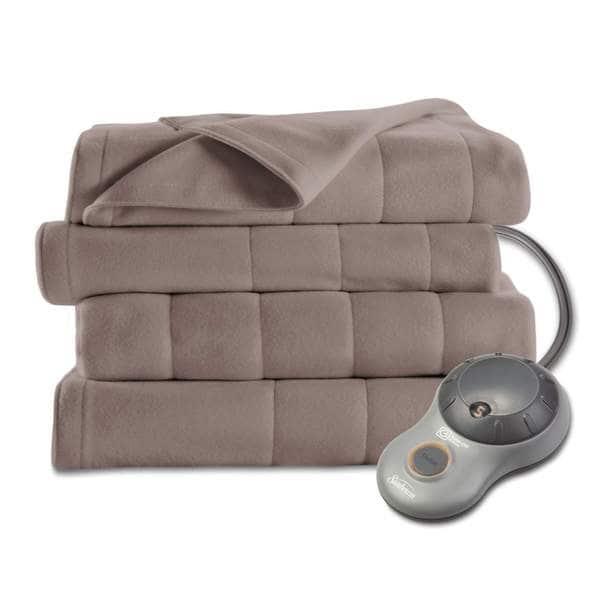 Sunbeam Heated Fleece Mushroom Color Blanket (Queen)