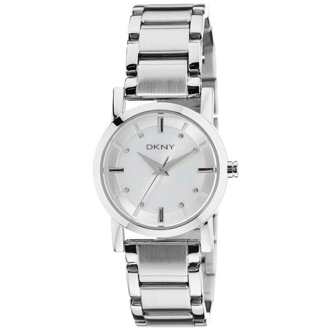 DKNY Women's Silver Stainless-Steel Quartz Watch with Mother-Of-Pearl Dial