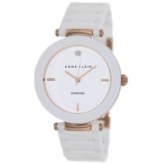 Anne Klein Women's AK-1018RGWT White Ceramic Quartz Watch with White Dial