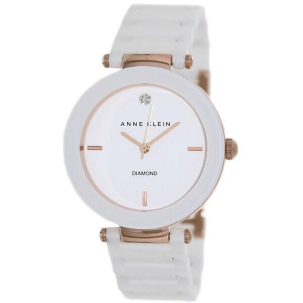 bd301e835 Shop Anne Klein Women's White Ceramic Quartz Watch with White Dial - Free  Shipping Today - Overstock - 8258534