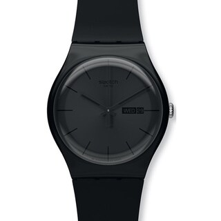 Swatch Men's Originals SUOB702 Black Silicone Quartz Watch with Black Dial
