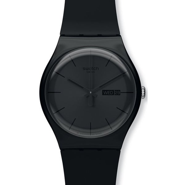 Swatch Men's Originals SUOB702 Black Silicone Quartz Watch with Black Dial