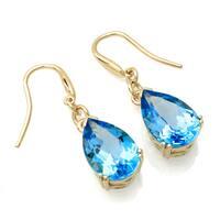 14k Yellow Gold Swiss Blue Topaz Dangle Earrings