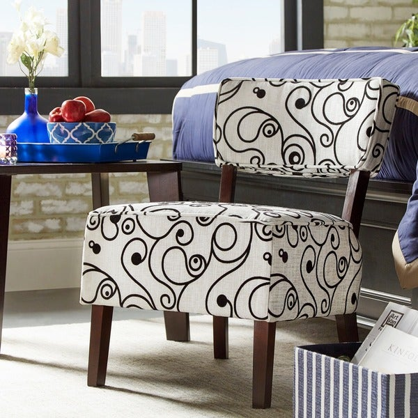 elko print armless curved back accent chair by tribecca home free