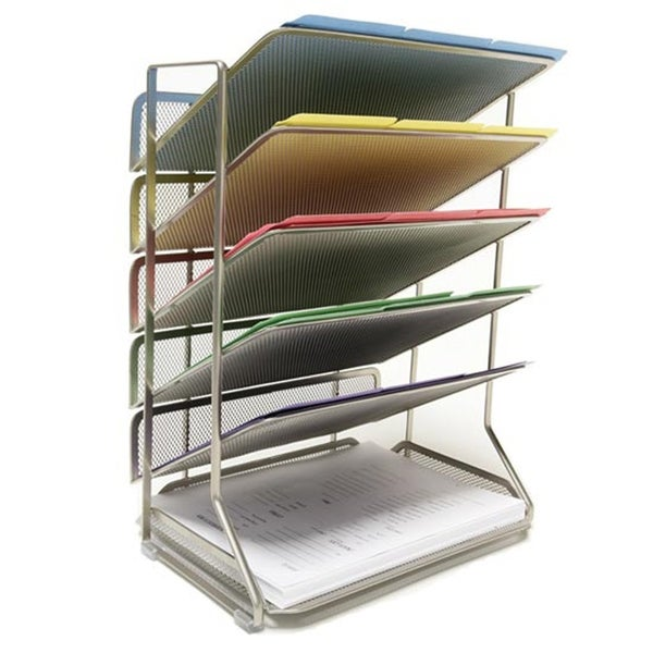 6 Tray Iron Mesh Office Vertical Desktop/Wall Mount Organizer, Letter/A4