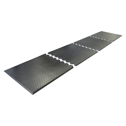 "Rubber-Cal Foot Rest Anti-Fatigue Black Interlocking Mat (2'4 x 2'7) - 28"" x 31"""