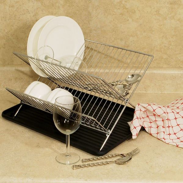 shop chrome folding dish rack free shipping on orders over 45 overstock 8259195. Black Bedroom Furniture Sets. Home Design Ideas