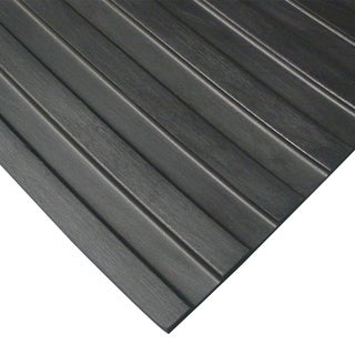 Rubber-Cal Wide Rib Rubber Flooring Rolls  1/8 x 3ft. Wide Runner Mats  Black  Offered in 6 Lengths