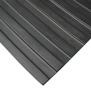 Rubber-Cal Wide Rib Rubber Flooring Rolls  1/8 x 3ft. Wide Runner Mats  Black  Offered in 6 Lengths
