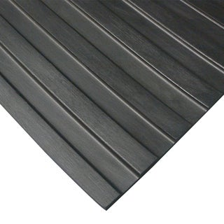 "Rubber-Cal ""Wide Rib"" Rubber Flooring Rolls – 1/8"" x 3ft. Wide Runner Mats – Black  – Offered in 6 Lengths - 36 x 240"