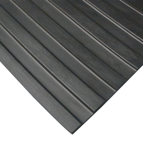Rubber-Cal Wide Rib Rubber Flooring Rolls - 1/8 x 4ft. Wide - Non-Slip Floors -Black - Offered in 5 Lengths