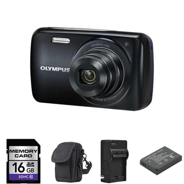 Olympus VH-210 Black Digital Camera 16GB Bundle